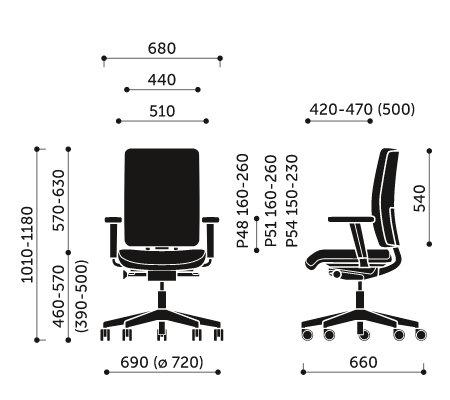 Wymiary fotela obrotowego Veris 101SFL Profim