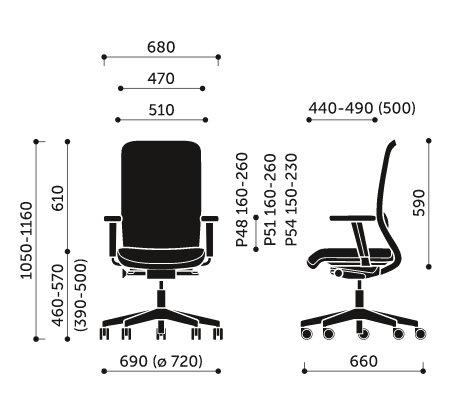 Wymiary fotela obrotowego Veris Net 100SFL Profim