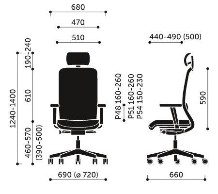 Wymiary fotela obrotowego Veris Net 110SFL Profim