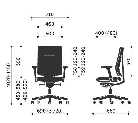 Wymiary krzesła obrotowego Xenon 10S Profim