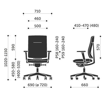Wymiary krzesła obrotowego Xenon 10SFL Profim