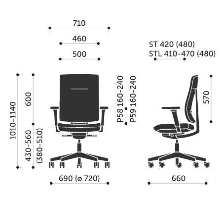 Wymiary krzesła obrotowego Xenon 10STL Profim