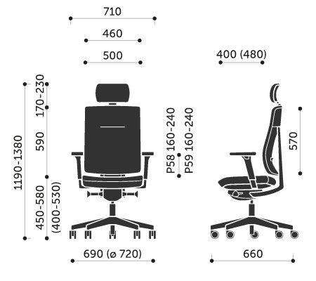 Wymiary krzesła obrotowego Xenon 11S Profim