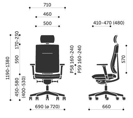 Wymiary krzesła obrotowego Xenon 11SFL Profim