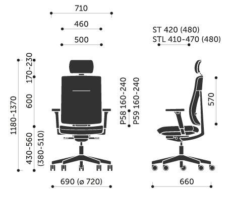 Wymiary krzesła obrotowego Xenon 11ST Profim