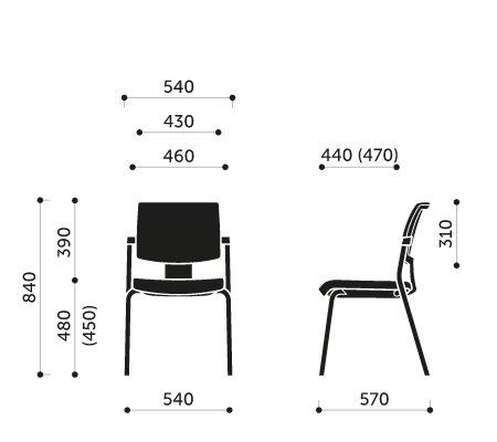 Wymiary krzesła konferencyjnego Xenon 20H Profim