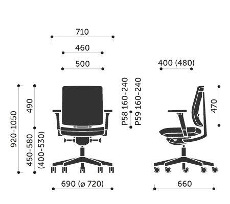 Wymiary krzesła obrotowego Xenon 20S Profim