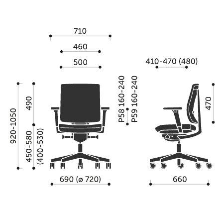 Wymiary krzesła obrotowego Xenon 20SFL Profim