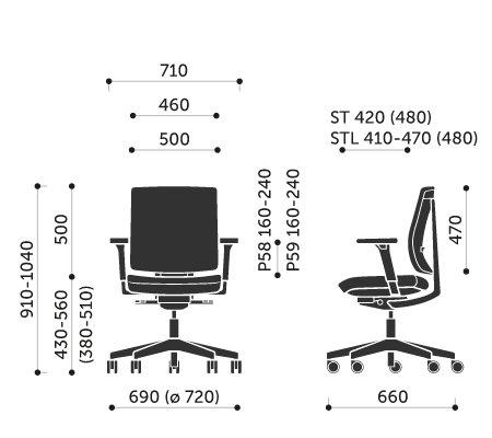 Wymiary krzesła obrotowego Xenon 20ST Profim