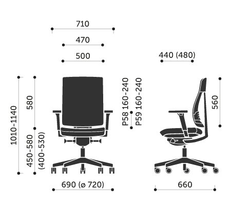 Wymiary krzesła obrotowego Xenon Net 100S Profim
