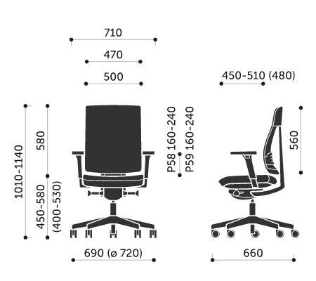 Wymiary krzesła obrotowego Xenon Net 100SFL Profim