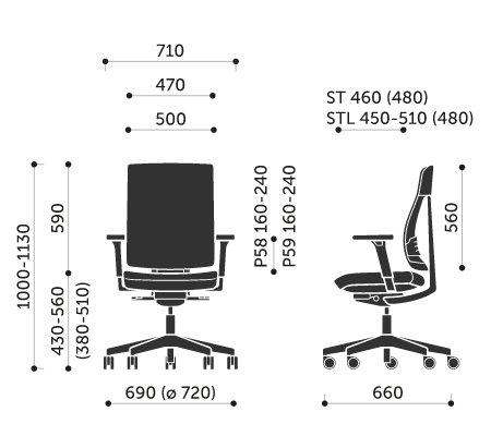 Wymiary krzesła obrotowego Xenon Net 100STL Profim