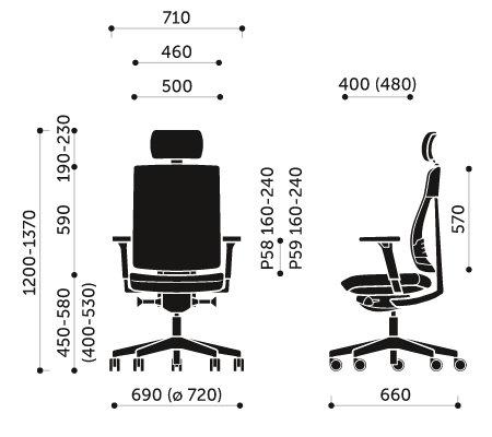 Wymiary krzesła obrotowego Xenon Net 111S Profim