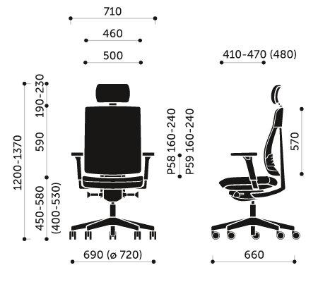 Wymiary krzesła obrotowego Xenon Net 110SL Profim
