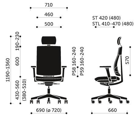 Wymiary krzesła obrotowego Xenon Net 110STL Profim