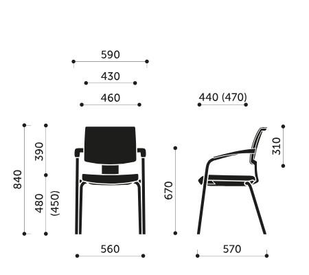 Wymiary krzesła konferencyjnego Xenon Net 20H 2P Profim