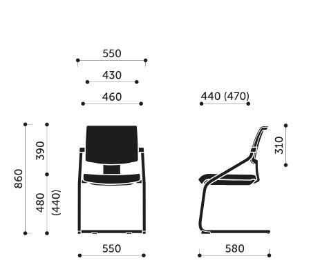Wymiary krzesła konferencyjnego Xenon Net 20V Profim