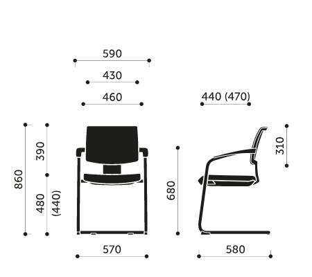 Wymiary krzesła konferencyjnego Xenon Net 20V 2P Profim