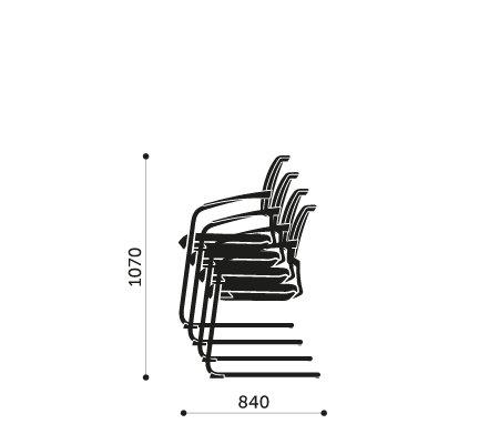 Sztaplowanie krzeseł konferencyjnych Xenon 20V Profim