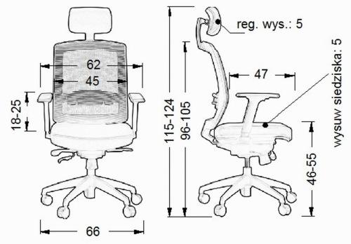 Wymiary fotela Ergon SitPlus