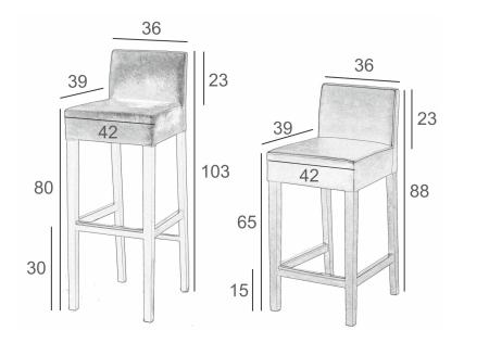 Wymiary stołka barowego NEW-IN SitPlus
