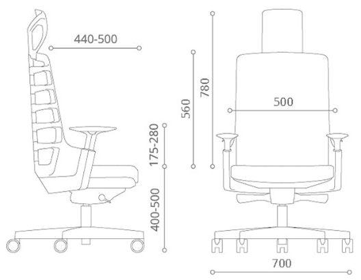 Wymiary fotela biurowego Spinelly Unique